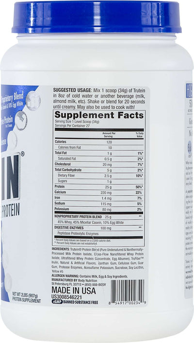 Trutein Protein: 45% Whey, 45% Casein & 10% Egg White - Banana Cream - 2lb (27 Servings)