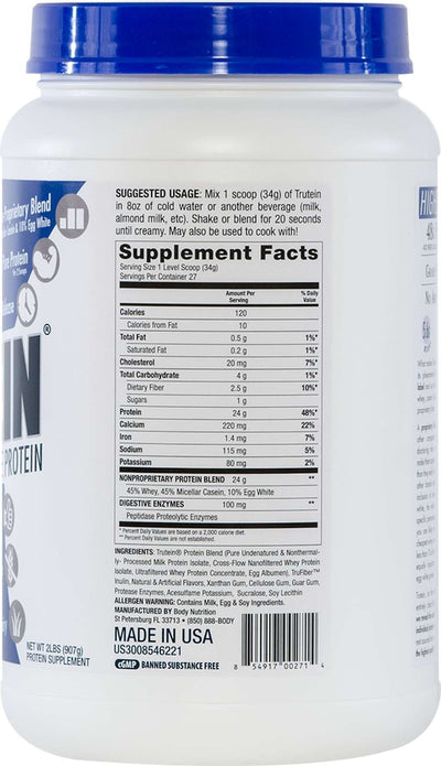 Trutein Protein: 45% Whey, 45% Casein & 10% Egg White - Birthday Cake - 2lb (27 Servings)