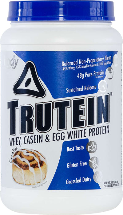Trutein Protein: 45% Whey, 45% Casein & 10% Egg White - CinnaBun - 2lb (27 Servings)