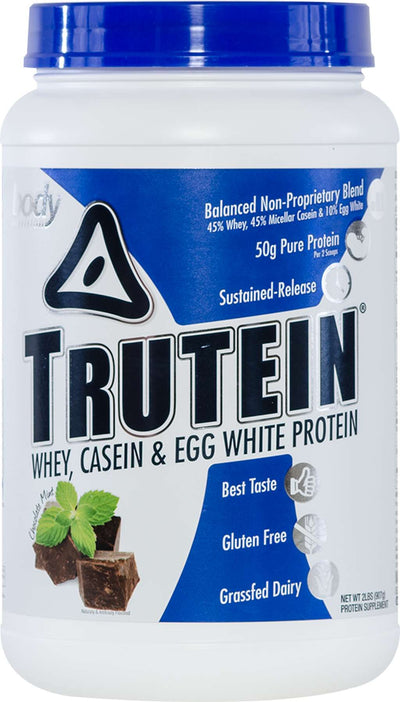Trutein Protein: 45% Whey, 45% Casein & 10% Egg White - Chocolate Mint - 2lb (27 Servings)