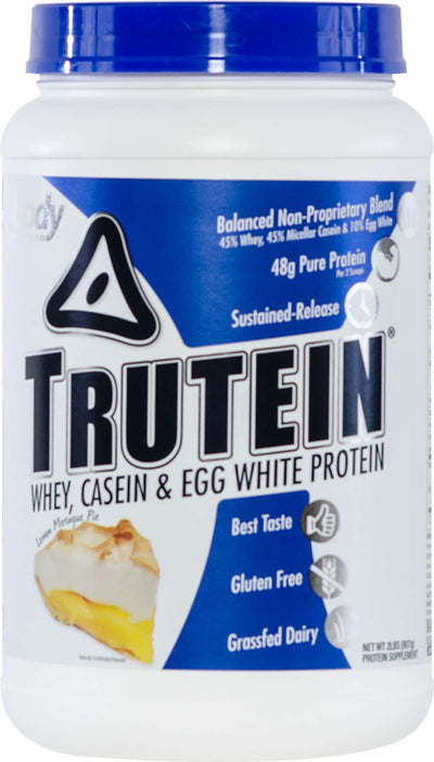 Trutein Protein: 45% Whey, 45% Casein & 10% Egg White - Lemon Meringue Pie - 2lb (27 Servings)