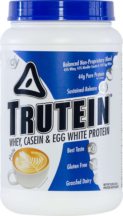 Trutein Protein: 45% Whey, 45% Casein & 10% Egg White - Mocha - 2lb (27 Servings)