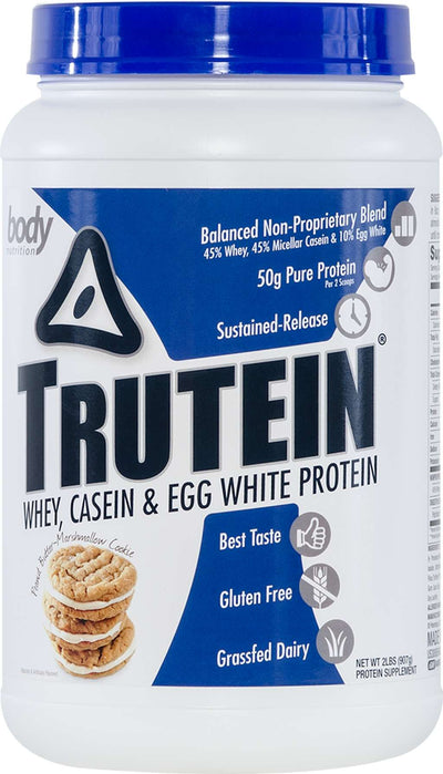 Trutein Protein: 45% Whey, 45% Casein & 10% Egg White - Peanut Butter Marshmallow Cookie - 2lb (27 Servings)