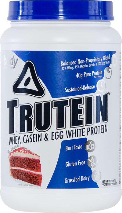 Trutein Protein: 45% Whey, 45% Casein & 10% Egg White - Red Velvet Cake - 2lb (27 Servings)