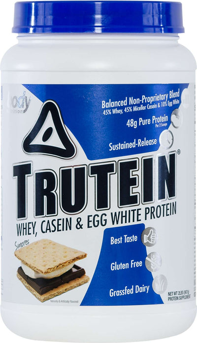 Trutein Protein: 45% Whey, 45% Casein & 10% Egg White - Smores - 2lb (27 Servings)