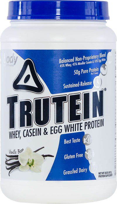 Trutein Protein: 45% Whey, 45% Casein & 10% Egg White - Vanilla Bean - 2lb (27 Servings)