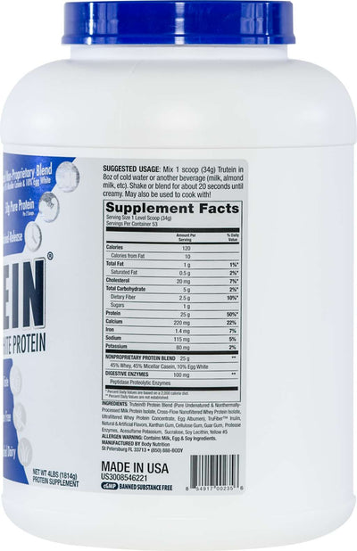 Trutein Protein: 45% Whey, 45% Casein & 10% Egg White - Banana Cream - 4lb (53 Servings)