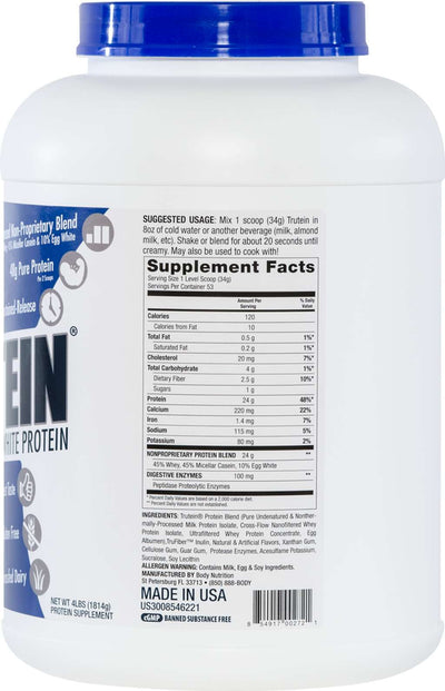 Trutein Protein: 45% Whey, 45% Casein & 10% Egg White - Birthday Cake - 4lb (53 Servings)