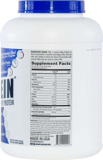 Trutein Protein: 45% Whey, 45% Casein & 10% Egg White - Lemon Meringue Pie - 4lb (53 Servings)