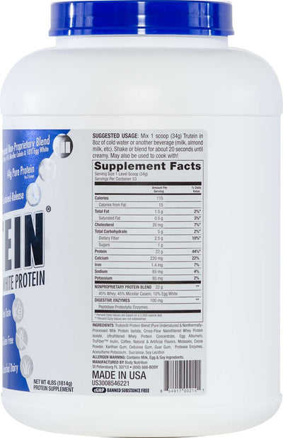 Trutein Protein: 45% Whey, 45% Casein & 10% Egg White - Mocha - 4lb (53 Servings)