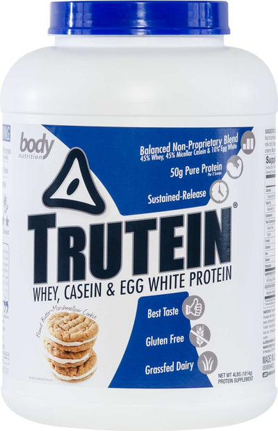 Trutein Protein: 45% Whey, 45% Casein & 10% Egg White - Peanut Butter Marshmallow Cookie - 4lb (53 Servings)