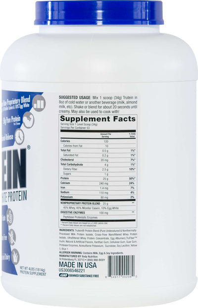 Trutein Protein: 45% Whey, 45% Casein & 10% Egg White - Shamrock Shake - 4lb (53 Servings)