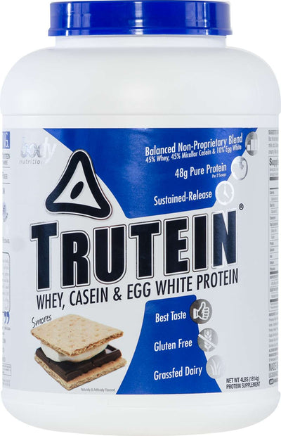 Trutein Protein: 45% Whey, 45% Casein & 10% Egg White - Smores - 4lb (53 Servings)