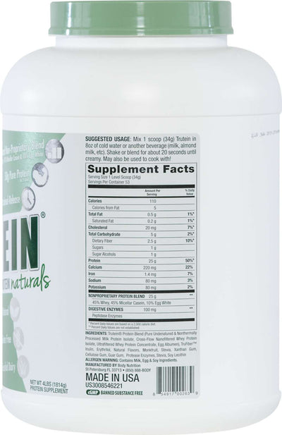 Trutein NATURALS: The Original Trutein Made All-Natural! - Vanilla Bean - 4lb (53 Servings)
