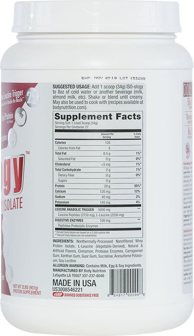 ISO-ology: 100% Leucine-Enhanced Whey Isolate - CinnaBun - 2lb (27 Servings)