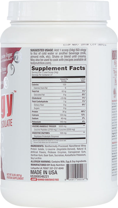 ISO-ology: 100% Leucine-Enhanced Whey Isolate - Vanilla Bean - 2lb (27 Servings)