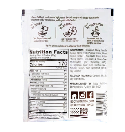 power pudding packet high protein, low carb pudding mix