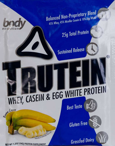 Trutein Protein: 45% Whey, 45% Casein & 10% Egg White - Banana Cream - Sample (34g)