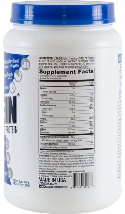 Trutein Protein: 45% Whey, 45% Casein & 10% Egg White - Salted Caramel - 2lb (27 Servings)