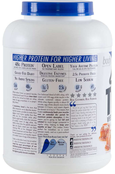 Trutein Protein: 45% Whey, 45% Casein & 10% Egg White - Salted Caramel - 4lb (53 Servings)