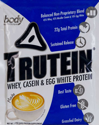 Trutein Protein: 45% Whey, 45% Casein & 10% Egg White - Mocha - Sample (34g)