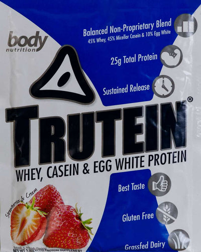 Trutein Protein: 45% Whey, 45% Casein & 10% Egg White - Strawberries & Cream - Sample (34g)