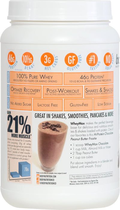 WheyMax: Functional Instant Whey Protein Shake - Chocolate - 2lb (27.5 Servings)
