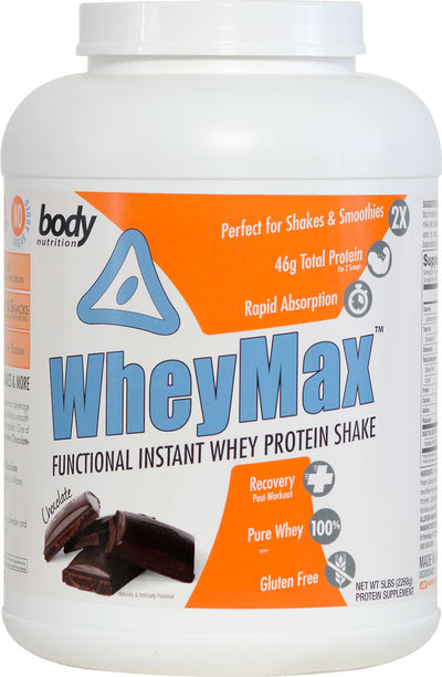 WheyMax: Functional Instant Whey Protein Shake - Chocolate - 5lb (69 Servings)