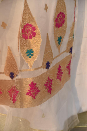 Gold and Multicoloured Banarsi Motifs On A White Organza Dupatta