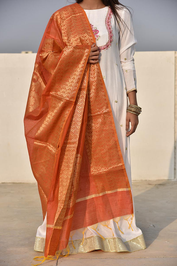 Rust Orange Cotton Banarsi Paisley Print Handloom Style Dupatta