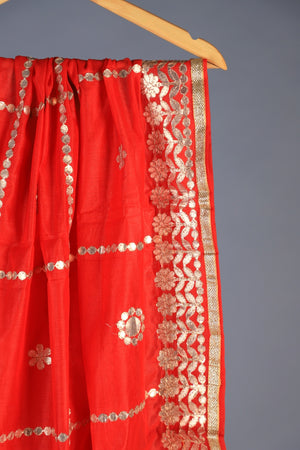 Red Vintage Cotton Silk Dupatta With Heavy Gota Style Work
