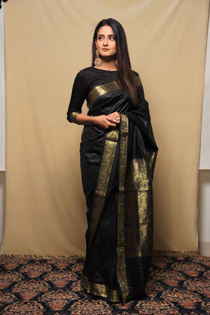 Black and Gold Banarsi Saari