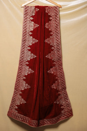 Deep Red Velvet Shawl