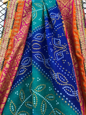 Turquoise and Electric Blue Shades of Chunri Print and Gota border Style Dupatta