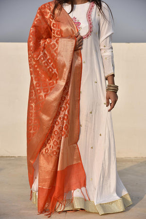 Rust Orange Cotton Banarsi Jamawar Print Handloom Style Dupatta