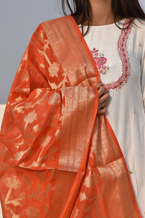 Rust Orange Cotton Banarsi Jaal Print Handloom Style Dupatta