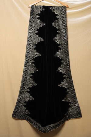 Black and Silver Regal Motif Shawl