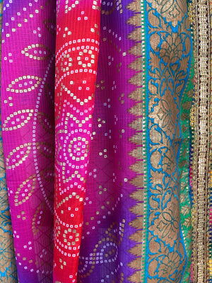 Purple and Pink Shades of Chunri Print and Gota border Style Dupatta