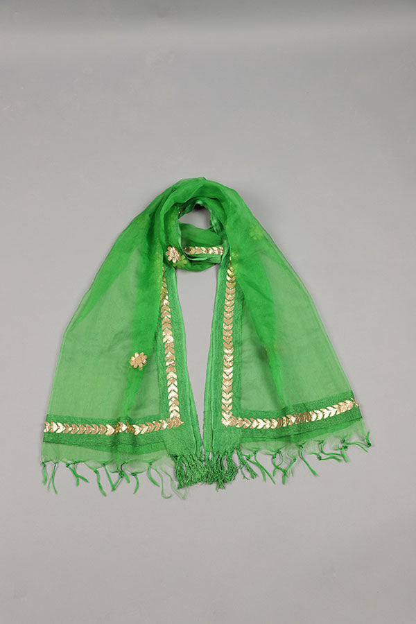 Green Organza And Gota Floral Motif border Detail Dupatta