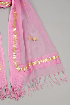 Pink Organza And Gota Floral Motif border Detail Dupatta