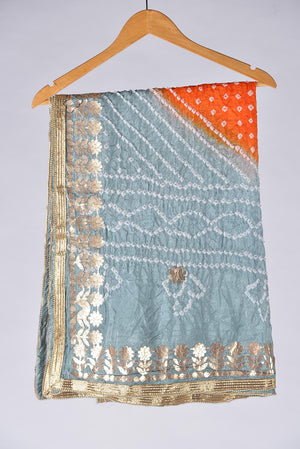 Blue, Orange and ice blue Tie Dyed Shaded Chunri Silk Dupatta With Gota Work Details