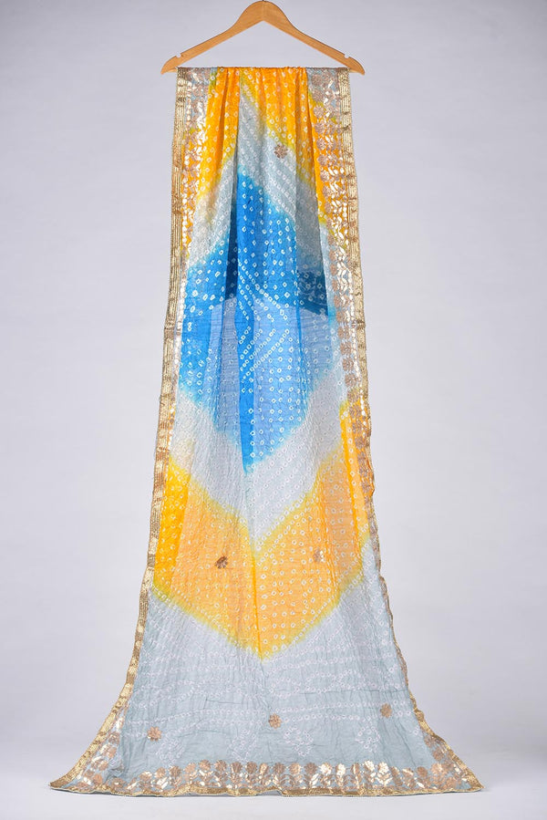 Blue , Yellow and Ice cold Tie Dyed Shaded Chunri Silk Dupatta With Gota Work Details