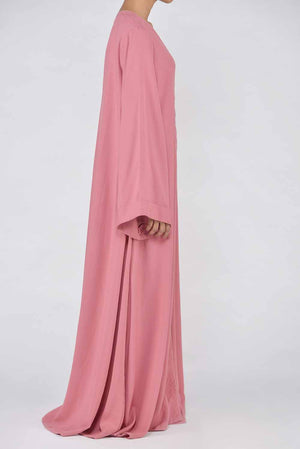 Salmon Pink Abaya with Fawn Coloured Piping Details