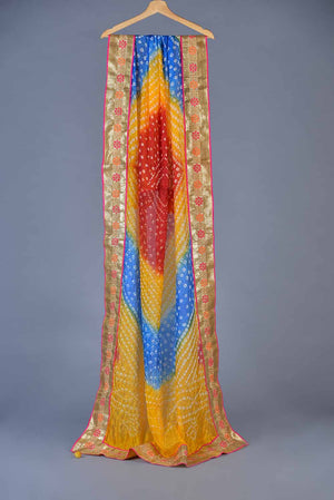 Yellow Blue and Red Gota Style Border Dupatta With Tassle Detail