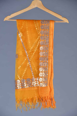 "Orange Organza And Gota ""Jaal"" and Floral Motif Detail Dupatta"