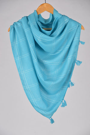 """Sooti""  Light blue Cotton Checkered Scarf"