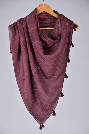 """Sooti""  Purple Cotton Checkered Scarf"