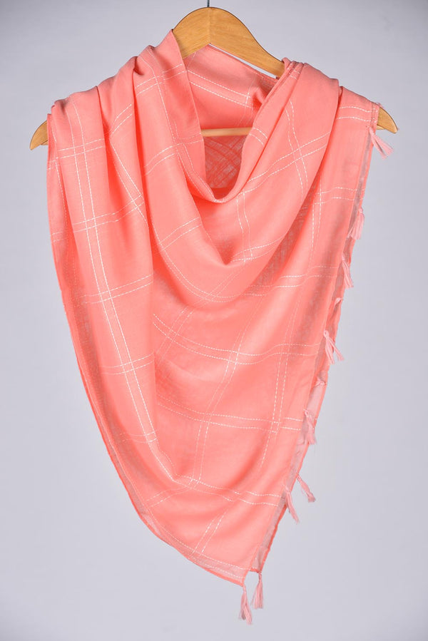 """Sooti""  Light Peach Cotton Checkered Scarf"