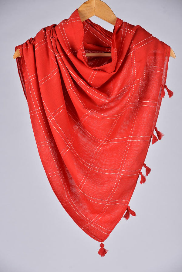 """Sooti""  Red Cotton Checkered Scarf"