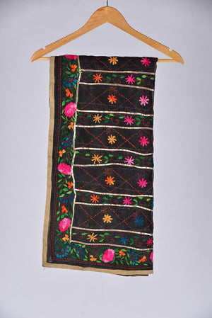 Black Embroidered Duppata